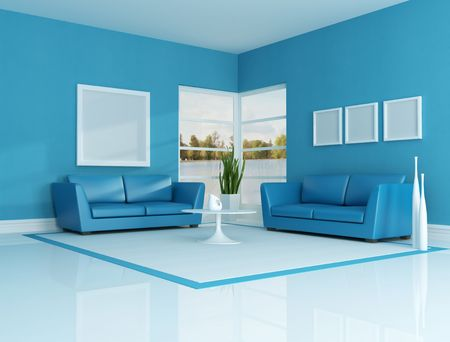 minimalist interior: contemporary interior with purple classic sofa - rendering. the image on background is a my photo