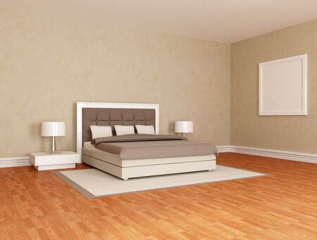 bed frame: minimalist bedroom with stylish double bed