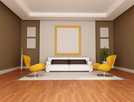 living room with modern couch and two orange armchair - rendering photo