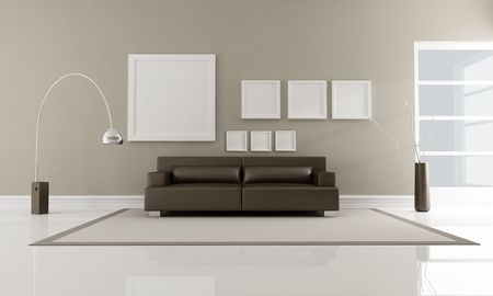 brown leather sofa: modern brown leather sofa in minimalist interior-rendering