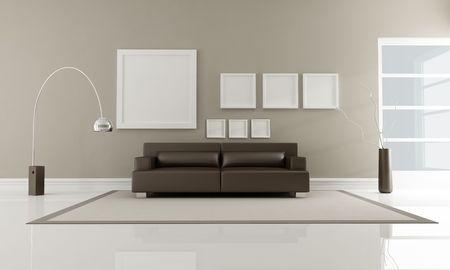 leren bank: moderne bruin lederen sofa in minimalistische interieur-rendering