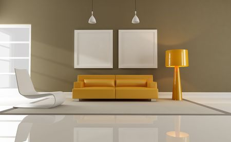contemporary orange and brown interior-rendering Stock Photo - 6393058