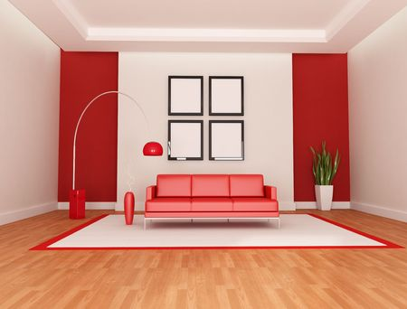 red and white modern living room - rendering Stock Photo - 6393061