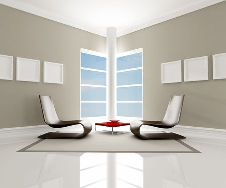 two brown fashion armchair in a minimalist room - rendering Stock Photo - 6393065