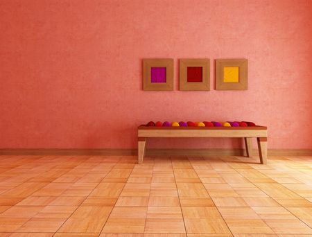 mediterranean interior: mediterranean interior with ethnic bench with colored cushion - rendering