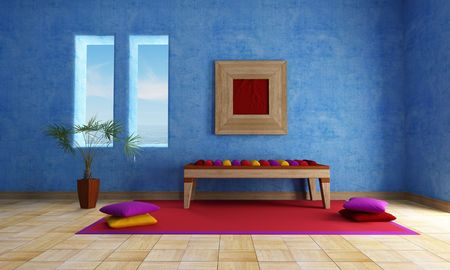 mediterranean blue  living room with ethnic bench carpet and cushion photo