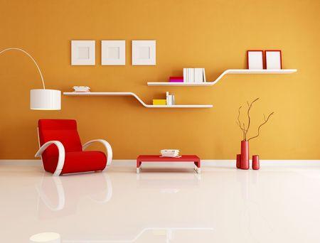 現代的なオレンジ色と赤の読書ルーム - レンダリング 写真素材