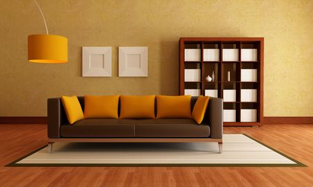 brown modern couch and wood bookcase in a living room  rendering photo
