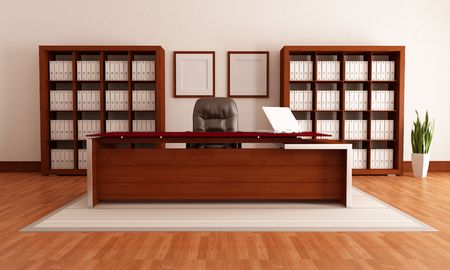 bookcase: elegant wooden modern office,rendering