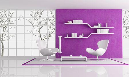 plaster wall: dos de moda blanca de sill�n delante de una pared de yeso p�rpura, procesamiento