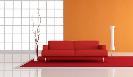red leather sofa in fron of a orange plaster wall,rendering photo