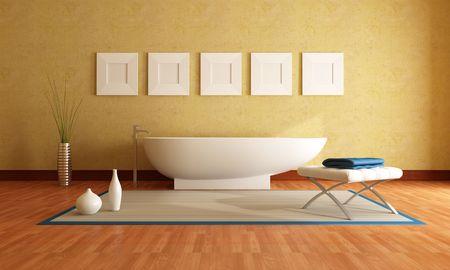 stucco wall: Modern bathtub in front a yellow stucco wall