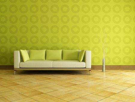 white and green couch in front a geometrical wallpaer Stock Photo