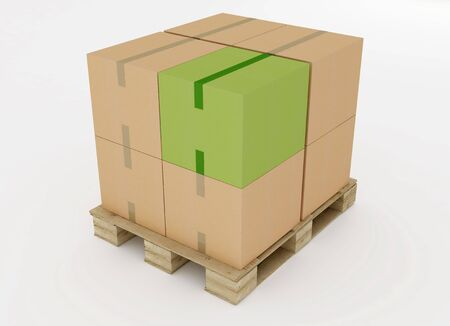 corrugated cardboard boxes on wooden pallet with one green box  isolated on white Stock Photo - 6577166