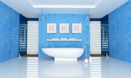 blue bathroom with fahion bathtub and double shower - rendering photo