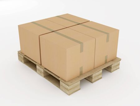 corrugated cardboard boxes on wooden pallet isolated on white photo