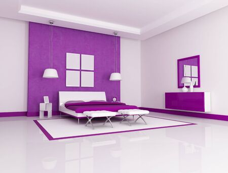 Purple and white minimalist bedroom - rendering Stock Photo - 6577172