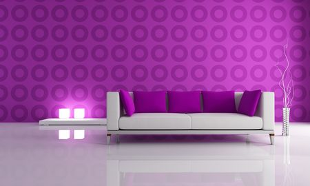 white and puple couch in front a geometical wallpaper Stock Photo