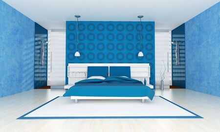 stell: contemporary blue bedroom with two stell shower-rendering Stock Photo