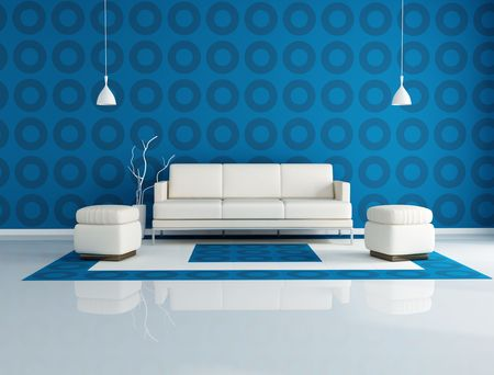 pouf: white couch and two pouf in front a geometrical wallpaper
