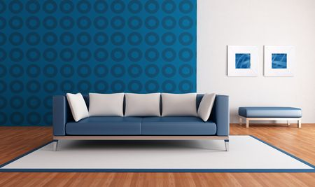blue leather sofa: minimalist blue lounge with modern couch and geometrical wallpaper - rendering-the picture art on wall is a my abstract composition
