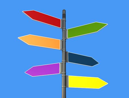 colored road sign post -rendering photo