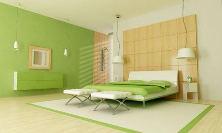 bedroom design: Green modern bedroom with shower -rendering Stock Photo
