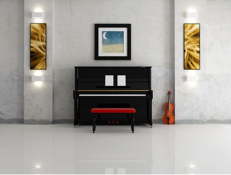 black piano and violin against the old  wall -rendering-the art picture on wall are my composition photo