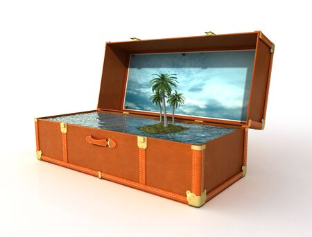 concept of vacation,travel leather suitcase with wonderful tropical landscape Stock Photo - 6746578
