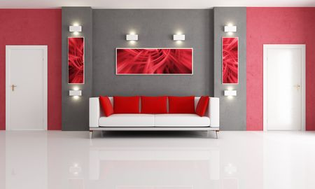 living room minimalist: modern couch in a red and gray living room with two door - rendering-the art picture on wall are my composition