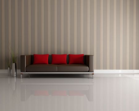 livingroom: brown and red couch in a modern interior