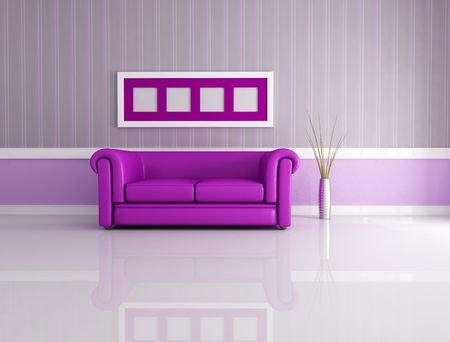 minimalist living room with classic leather couch - rendering Stock Photo - 6828488