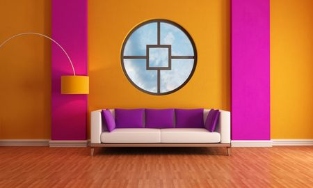 modern living room with sofa and big circular window - rendering -the sky on background is a my photo photo