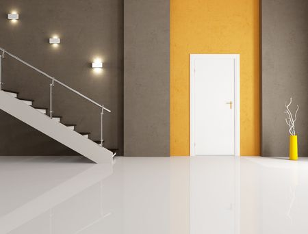 white door: minimalist entrance with white door and staircase Stock Photo