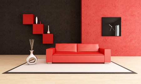 red and black living room with leather couch on carpet - rendering photo