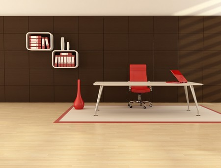 front desk: minimal office space with modern desk in front a dark wooden paneling