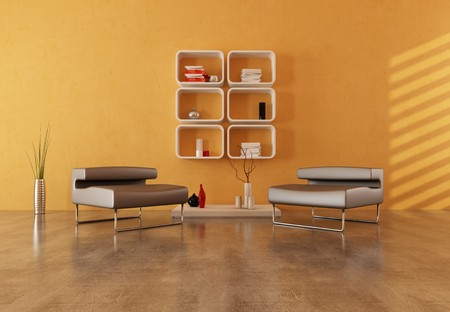 two modern armchair on concrete floor in a modern lounge Stock Photo - 6998695