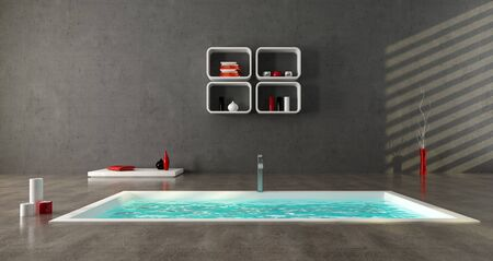 minimalist bathroom with fashion bathtub on concrete floor photo