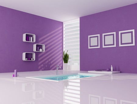 contemporary bathtub in a purple and white bathroom - rendering photo