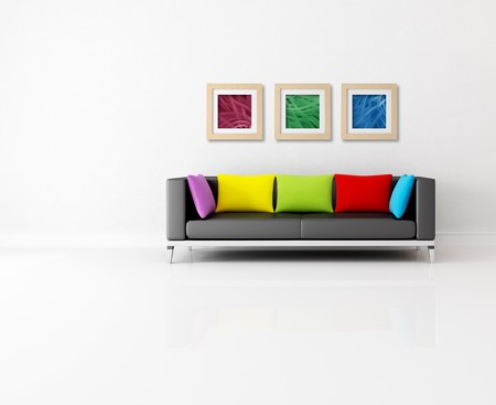 minimalist living room with colored couch and abstract picture - the images on wall are my composition photo