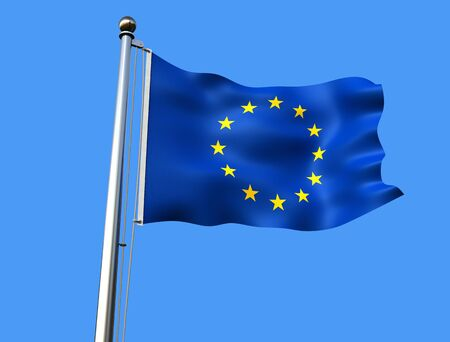 flagstaff: european union flag on blue background with visible fabric texture - rendering Stock Photo
