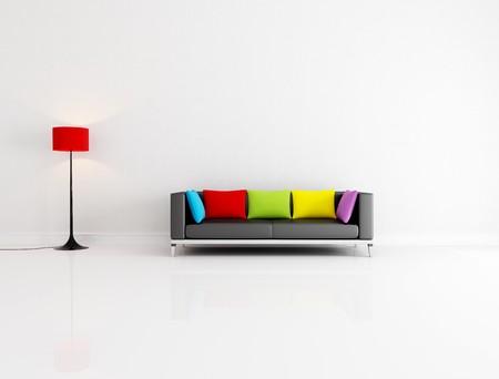 blanco Salón minimalista con sofá negro con cojín color - representación  Foto de archivo