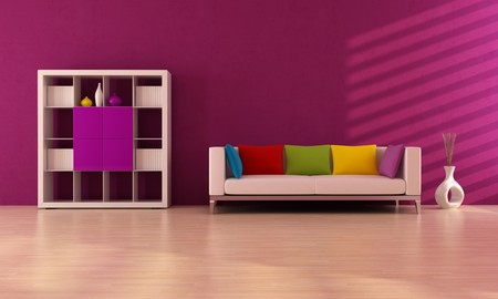 purple modern inter with colored sofa and book case - rendering Stock Photo - 7004883