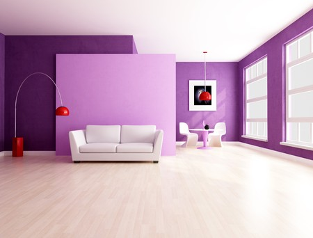 modern sofa: purple and lilla living room with dining space - rendering Stock Photo