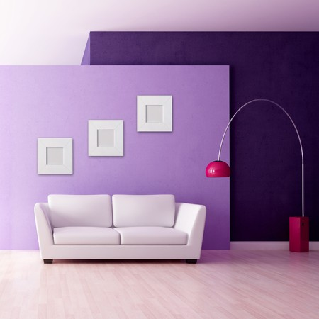 minimalist purple interior witj white couch - rendering Stock Photo - 7004882
