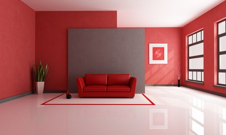 red sofa: red and brown minimalist living room - rendering - the art picture on wall is a my composition Stock Photo