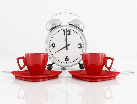 two red coffee cup and vintage alarm clock at eight in the morning - rendering photo
