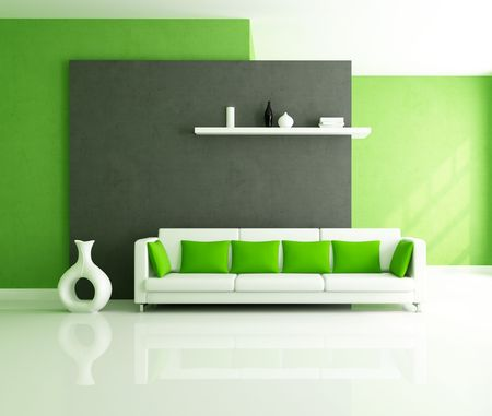green modern interior -rendering Stock Photo