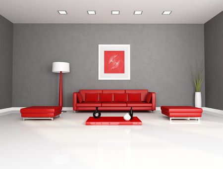 red and gray minimalist interior - rendering - the art picture on wall is a my abstract composition Stock Photo - 7072330