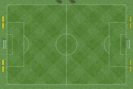 high resolution of a soccer field with checkered grass texture- rendering photo